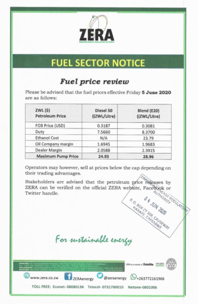 New Fuel Prices In Zimbabwe