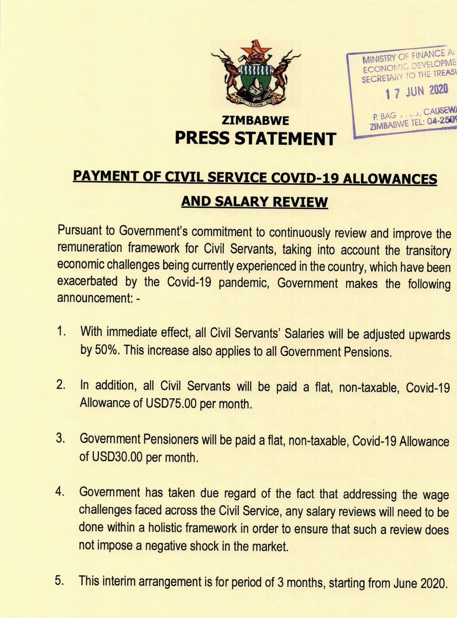 Civil Servants To Be Paid In USD