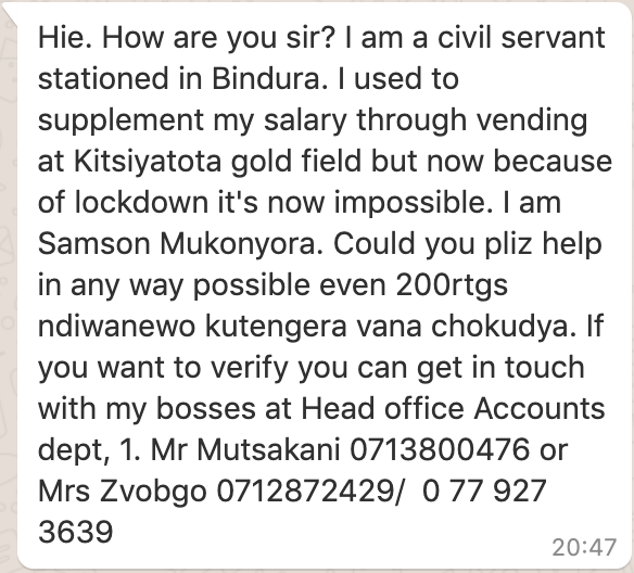 Zimbabwe Government Accountant Begs For Money