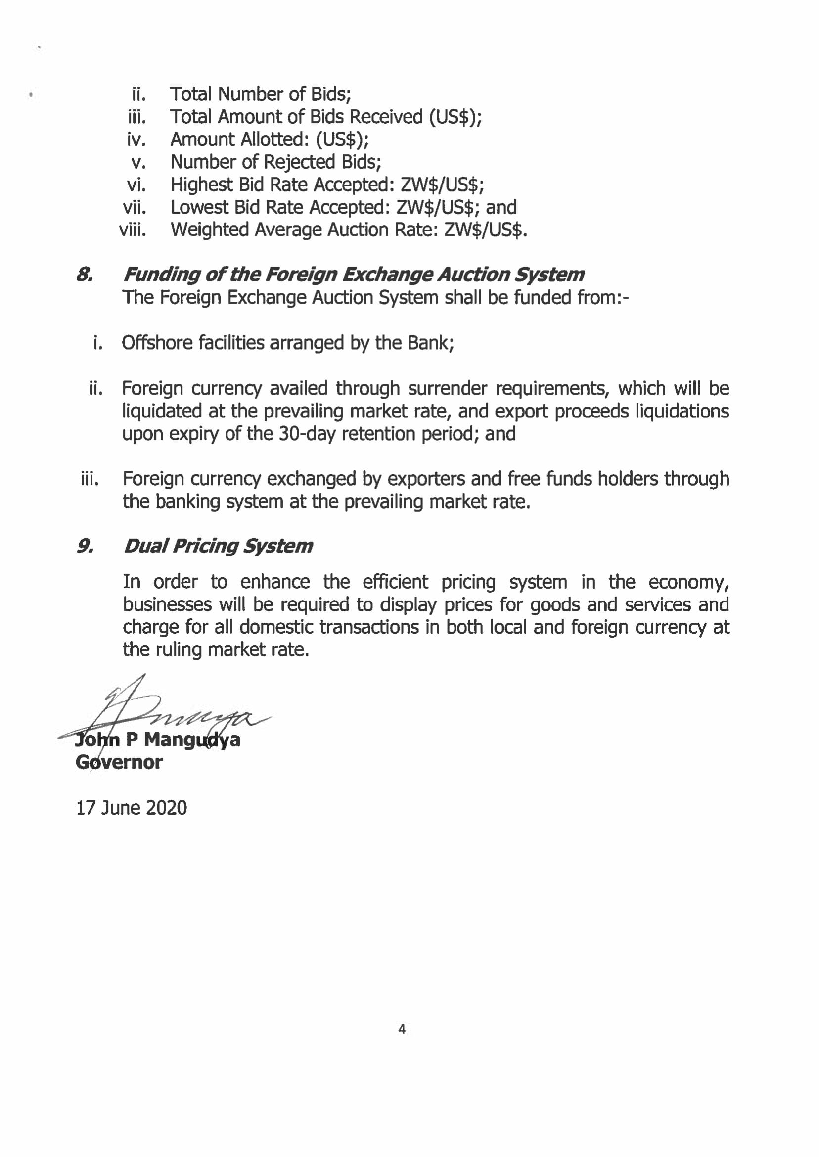 RBZ Introduces Forex Auction System