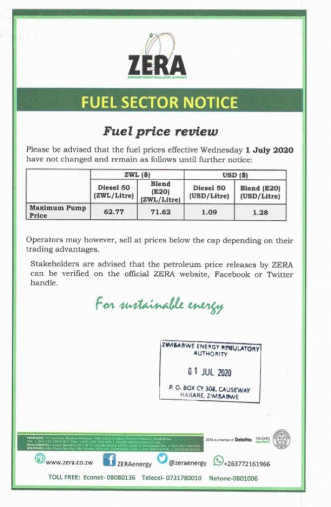 Zimbabwe Fuel Prices Effective 01 July 2020