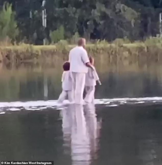 Kanye West Walks On Water With His Kids At A Church Service