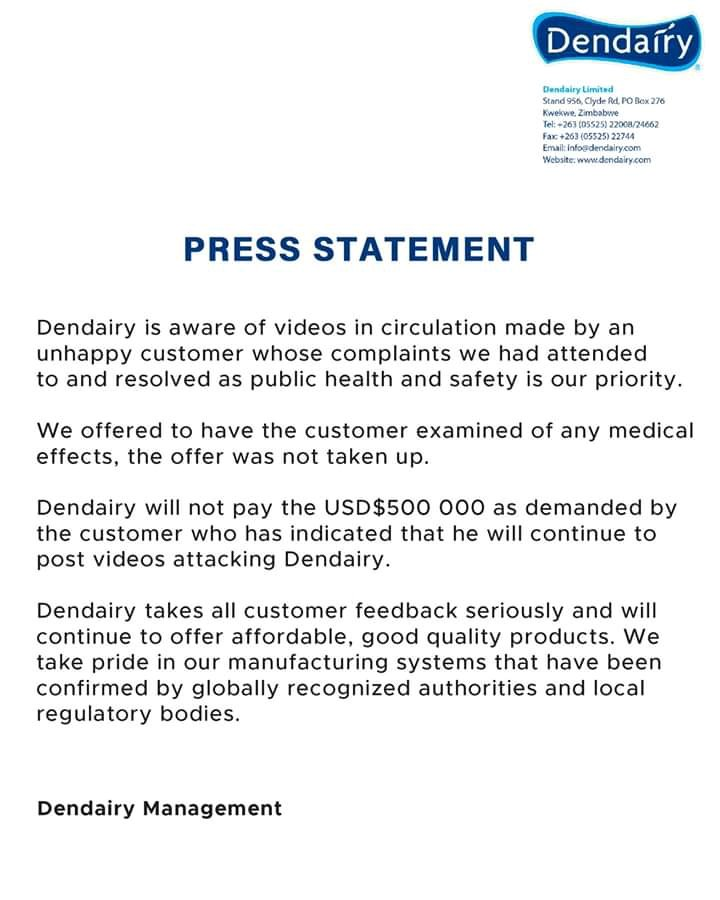 Dendairy Speaks On Poisoning Claims