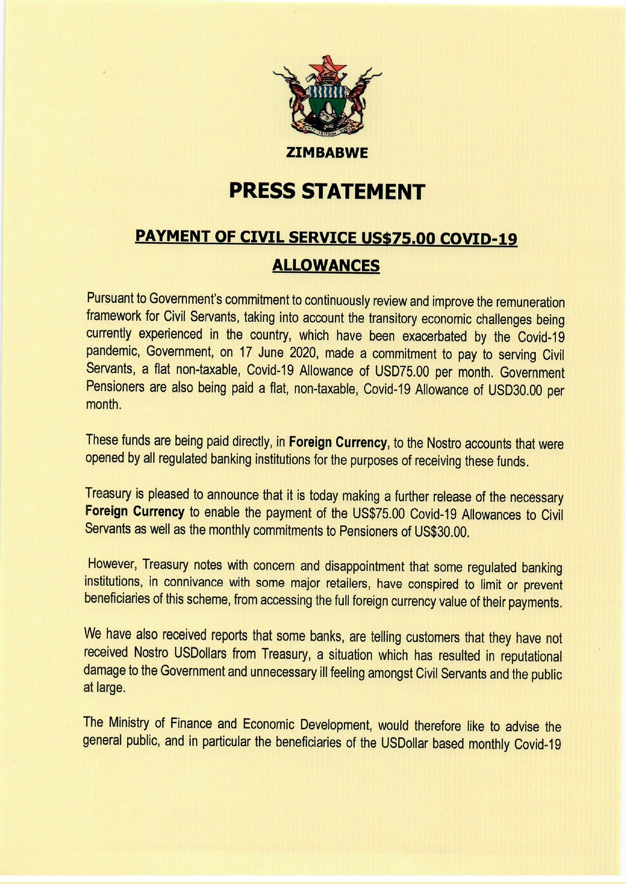 Payment Of US$75 Covid-19 Allowances For Civil Servants
