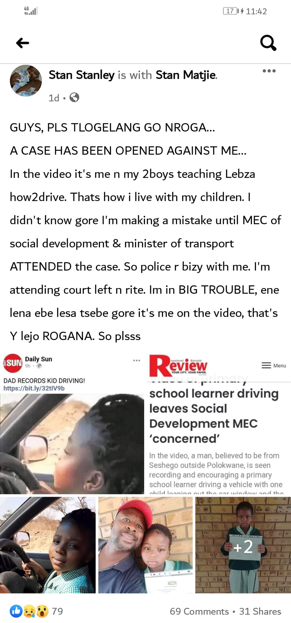 Dad Who Recorded Primary School Girl - Lebza Driving May Lose His Kids