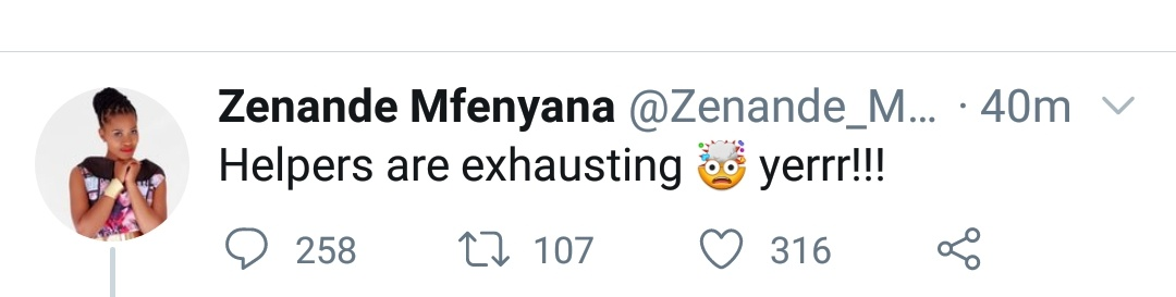 Zenande Mfenyana called out over her insensitive tweet about her helper