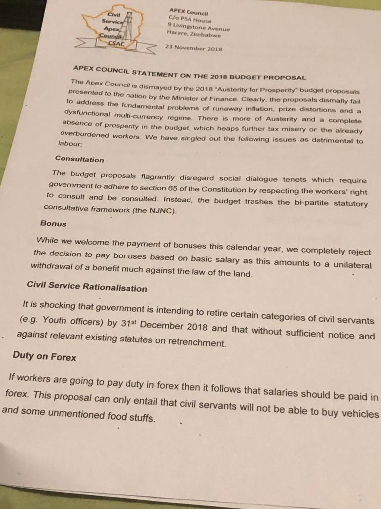 Apex Council Civil statement
