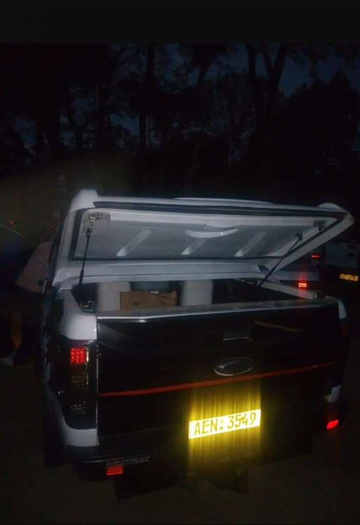 The back of Macheso's Ford Ranger