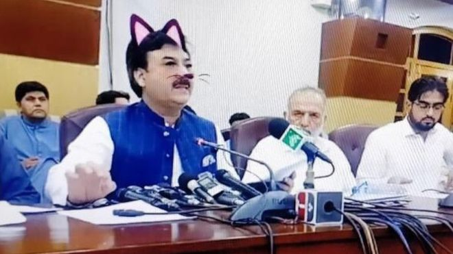 Pakistani politician's press conference derailed by accidental cat filter