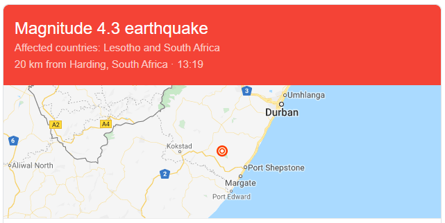 Earthquake In Durban, South Africa