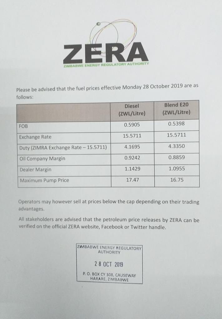 Zera Fuel PRice Increase Notice