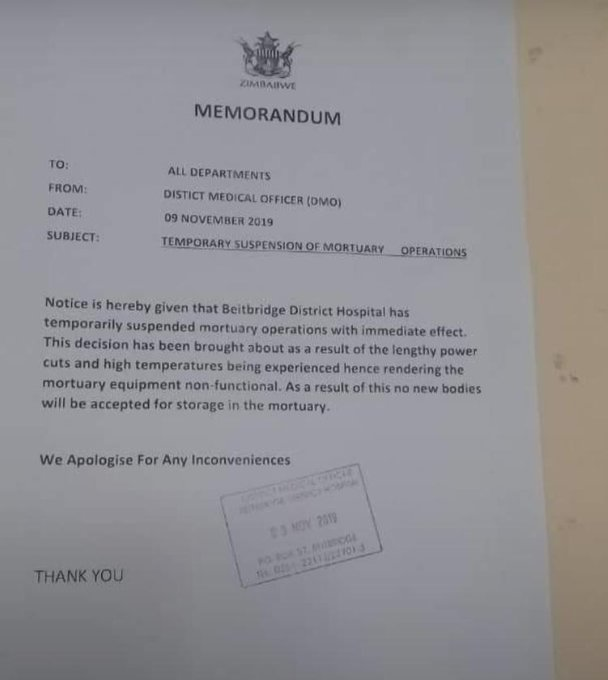 Beitbridge Hospital Shuts Down Mortuary
