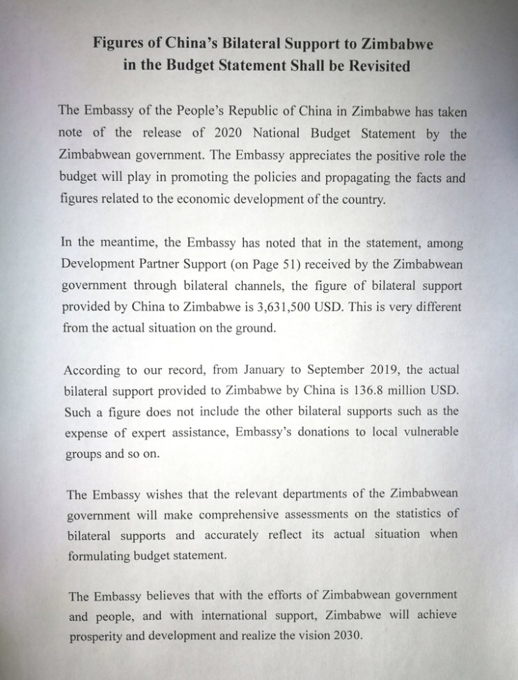 Chinese Dispute Mthuli Ncube's Figures