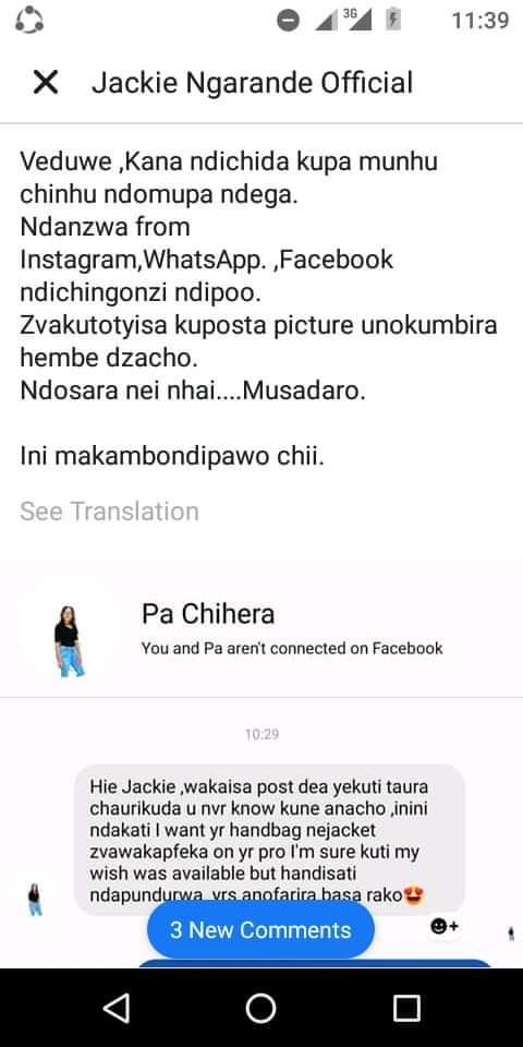 Jackie Ngarande Flees Facebook after trying to embarrass singer Pah Chihera
