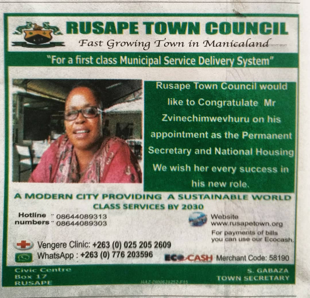 Congratulatory message from Rusape Town Council