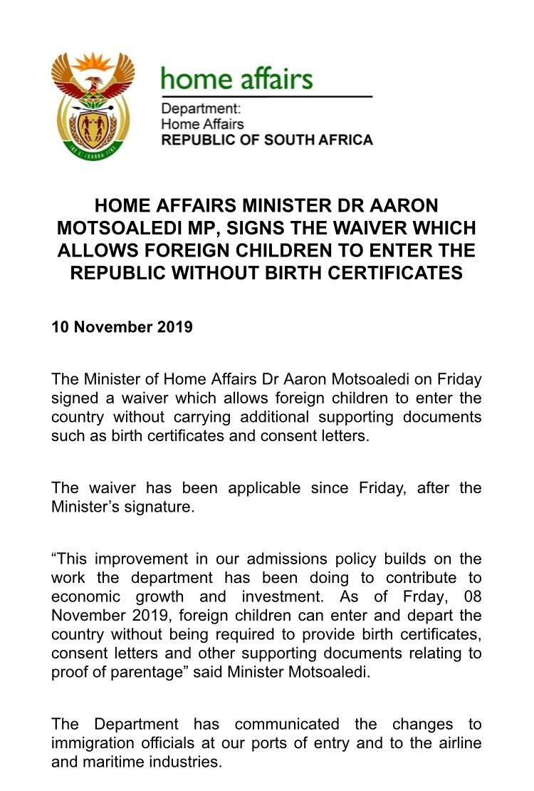 South Africa Immigration Statement
