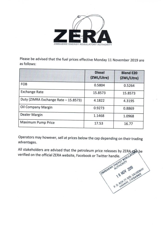 Zera Fuel Price Increases