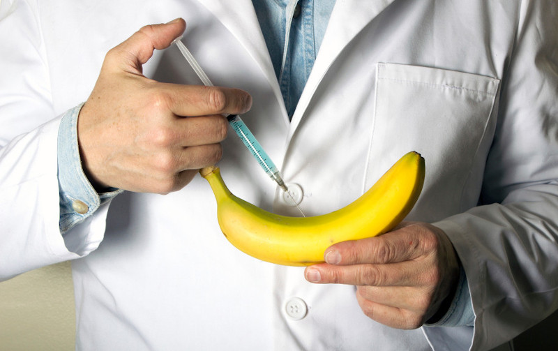 male birth control contraceptive-injections-doctor injecting banana
