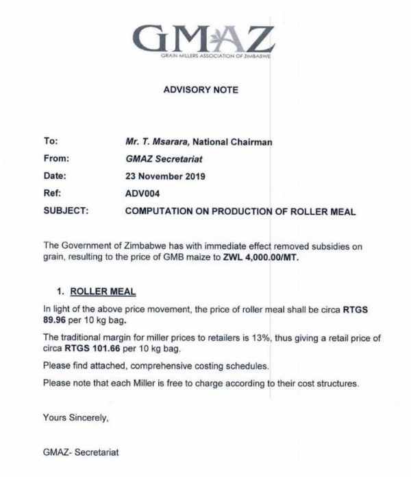 Price of 10kg Bag of Mealie Meal in Zimbabwe
