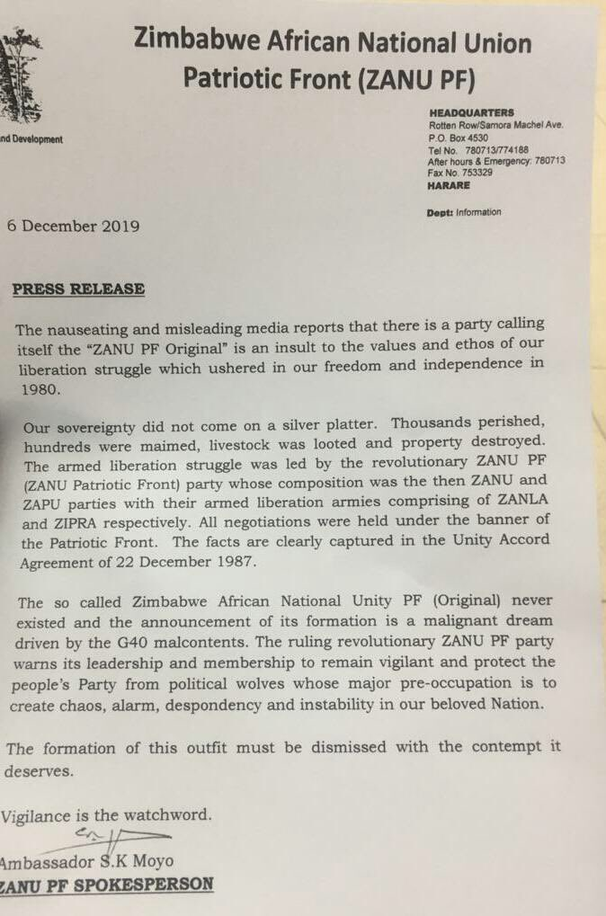 Simon Khaya Moyo, the Spokesman for the current ruling ZANU PF has set the record straight blasting the new party