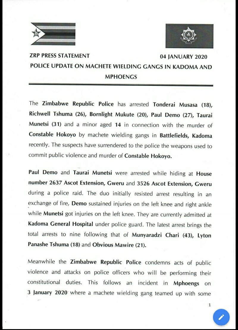 Police Statement on 6 More 'Mashurugwi' Arrested For Murdering ZRP Cop