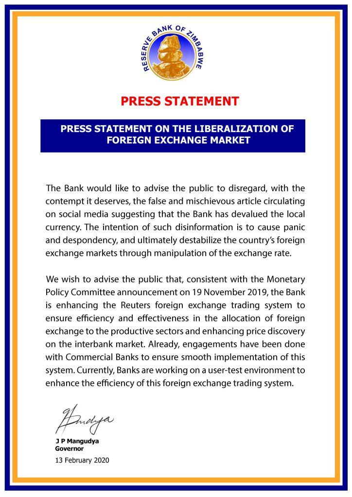 Zimbabwe Dollar Devalued