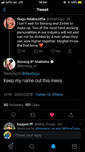 Bonang Responds To Requests That She Should Be Friends With DJ Zinhle