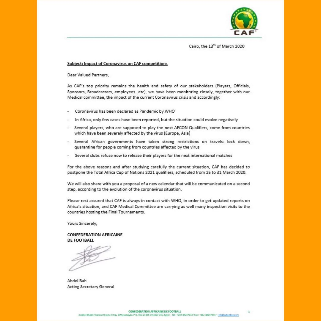 Africa Cup of Nations Qualifiers Postponed Because Of Coronavirus