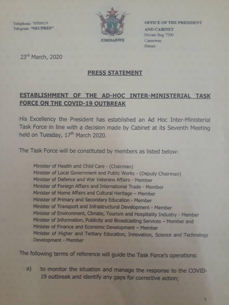Mnangagwa Sets Up Covid-19 Taskforce