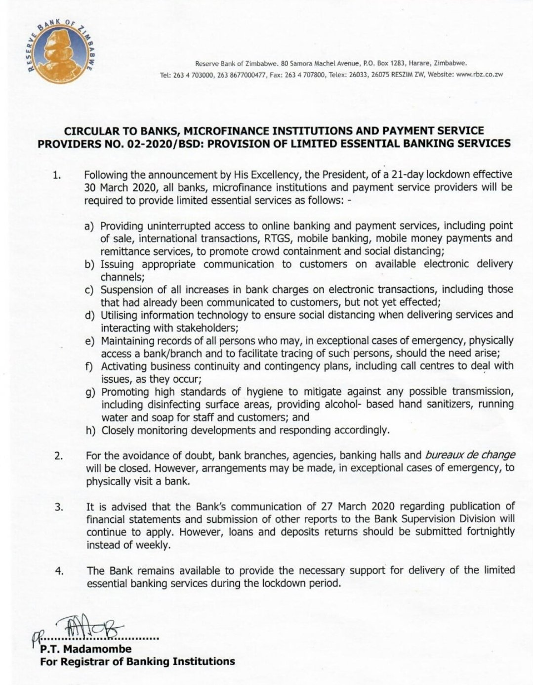 RBZ Releases Statement On Banks
