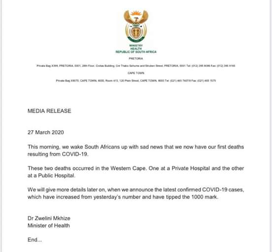 Covid-19: S.Africa president imposes lockdown, to deploy military
