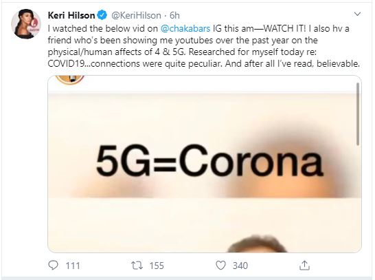Keri Hilson Claims Coronavirus Caused By 5G Networks
