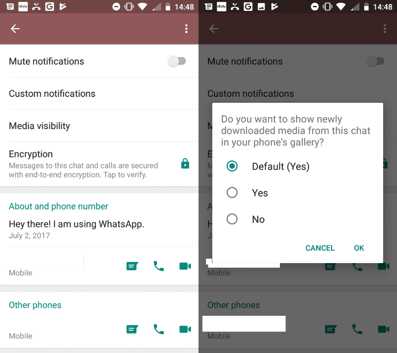 Stop WhatsApp Images From Appearing In Your Gallery