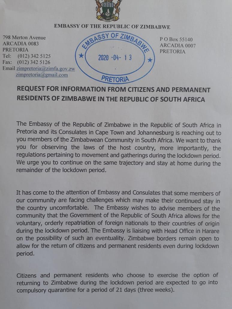 Zim Embassy To SA