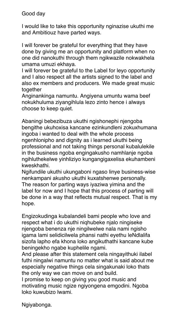 Sjava part ways with Ambitiouz Entertainment