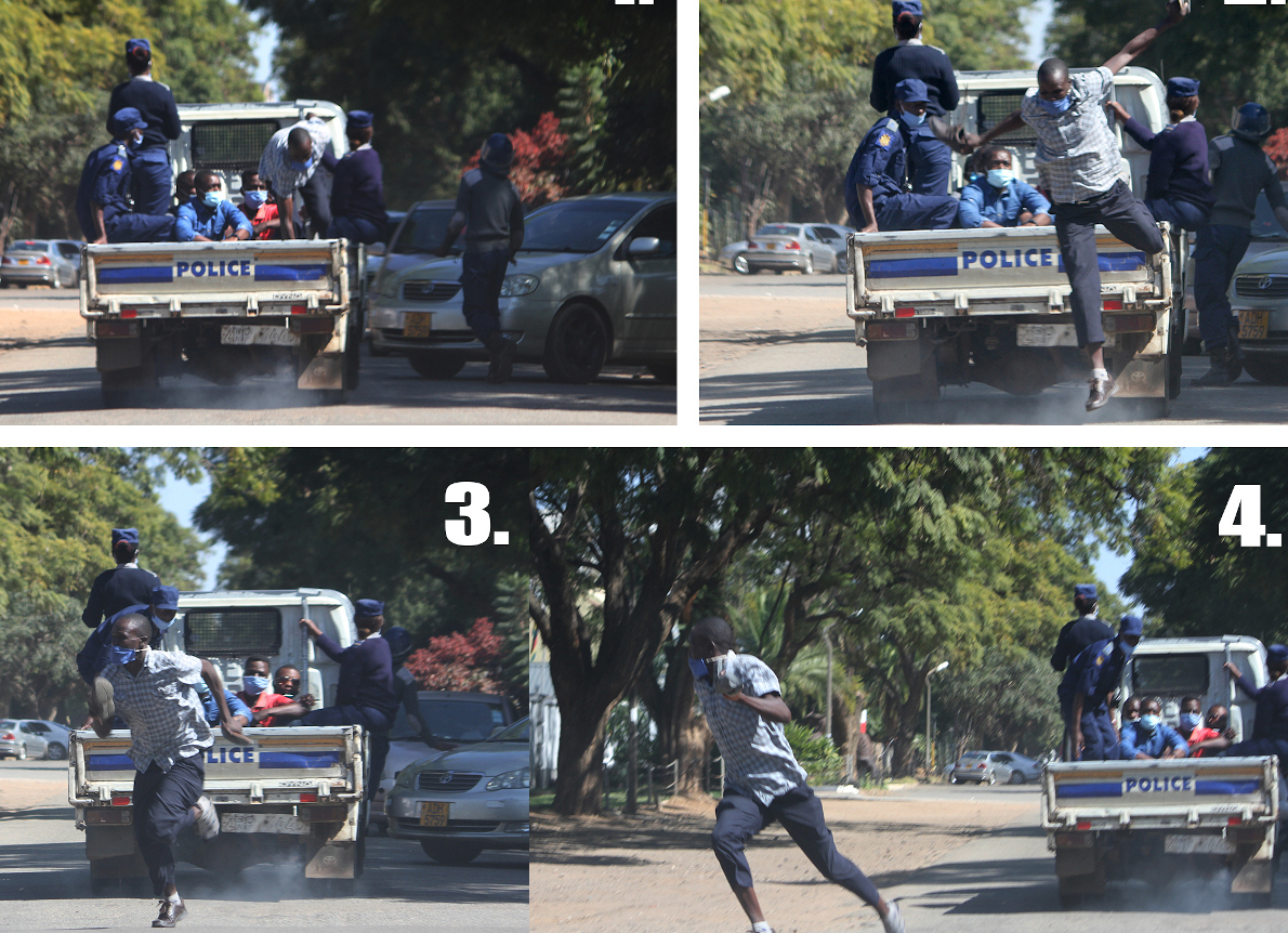 Money Changer Flees From Police (Image Credit: Innocent Makawa/Herald)