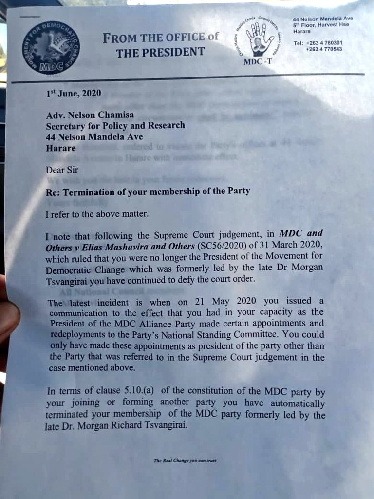 Chamisa Expelled