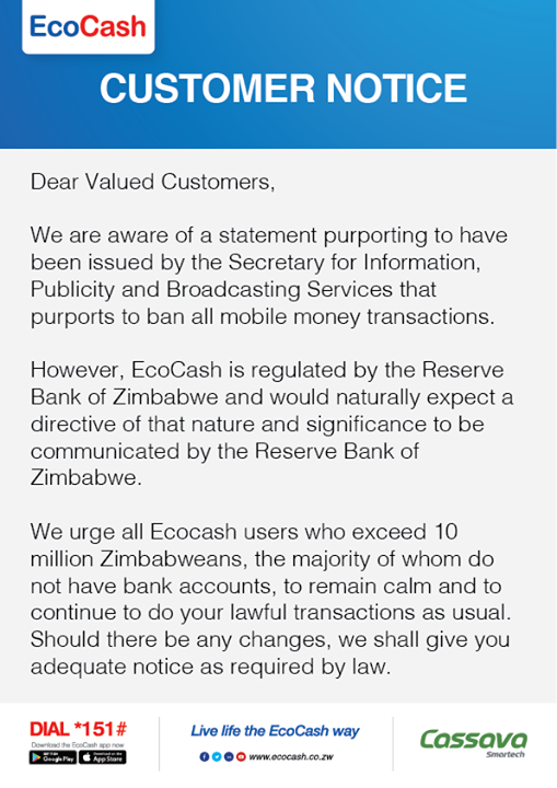 Ecocash responds to govt- iHarare