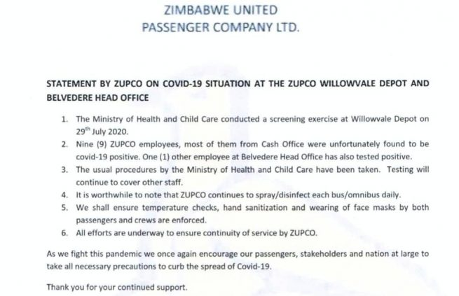 9 Zupco Workers Test Positive For Covid-19